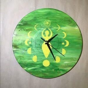 Upcycled Moon Goddess Record Wall Clock